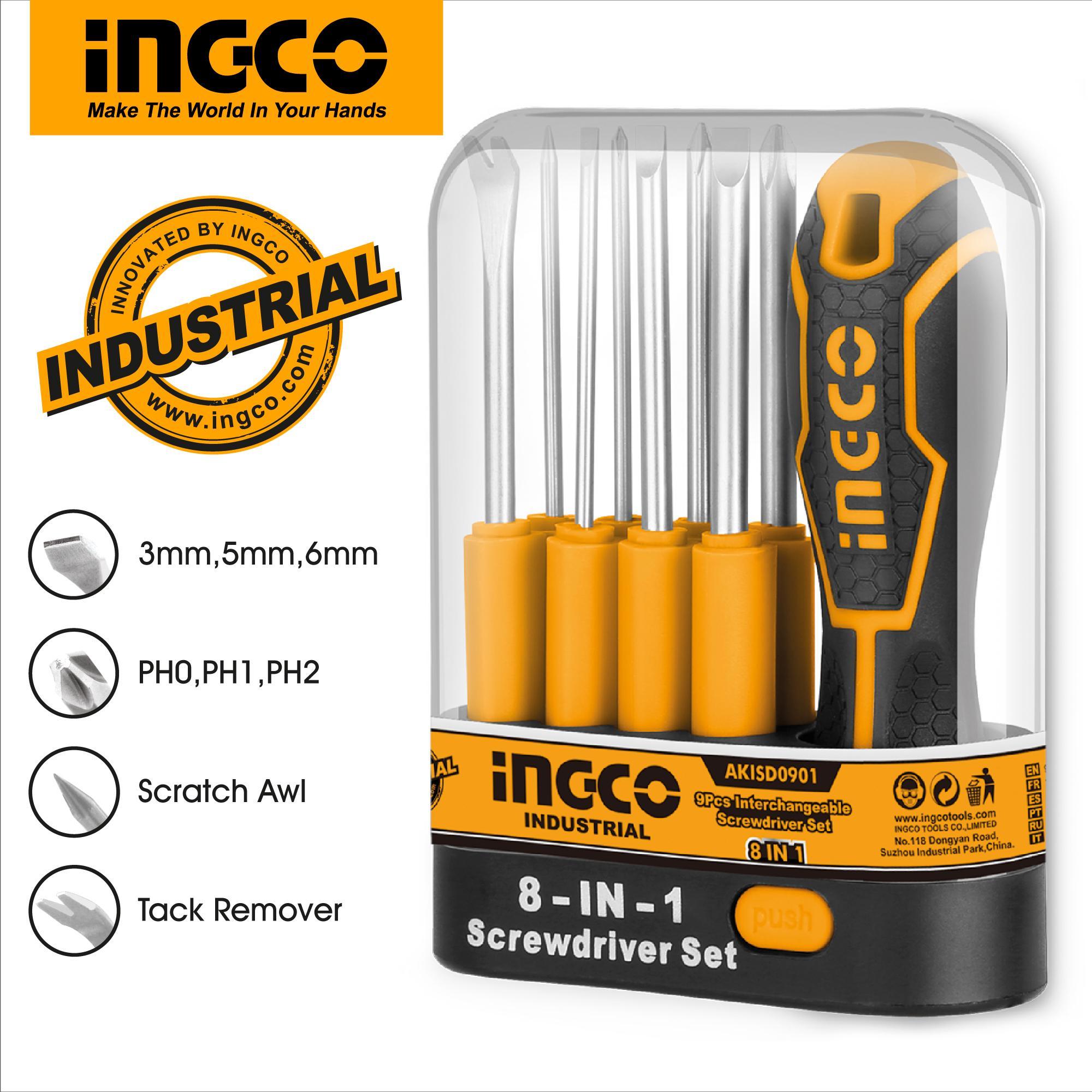INGCO 9pcs Screwdriver Set with 1pcs Interchangeable Handle AKISD0901