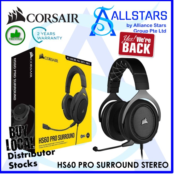 (ALLSTARS : We Are Back Promo) CORSAIR Carbon HS60 PRO Surround Stereo Gaming Headset with 7.1 Surround Sound (CA-9011213-AP) (Warranty 2years with Convergent)