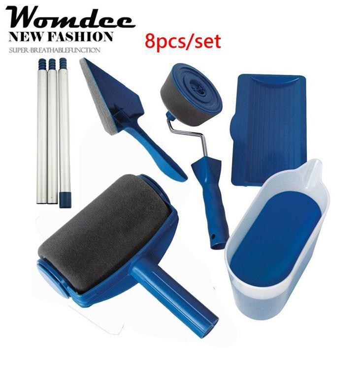 Womdee Paint Roller Brush, Paint Runner Pro Roller Brush Handle Tool, Flocked Edger Room Wall Painting,drip And Splatter Free Paint System,multi -Function Roller Paint Brush Set For Home And Office, 6 Packs - Intl By Womdee.