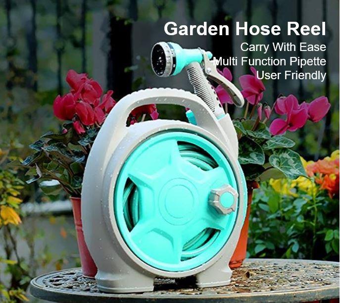 Portable Garden Hose Reel-50ft Water Hose Reelwith 6 Pattern Water Spray