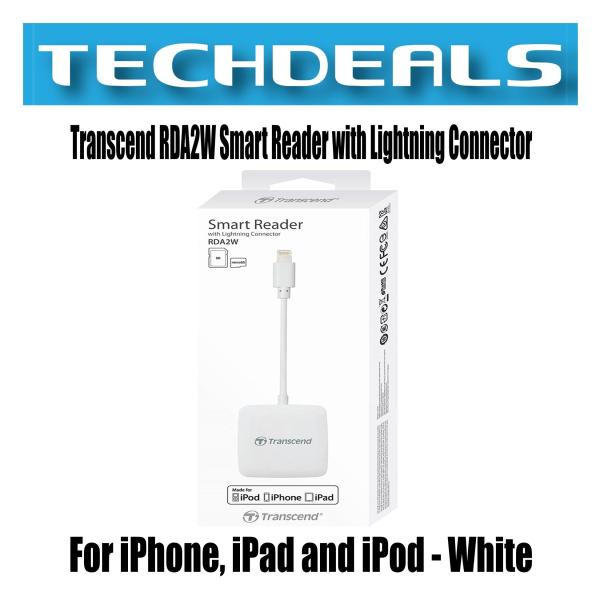 Transcend RDA2W Smart Reader with Lightning Connector | For iPhone, iPad and iPod - White