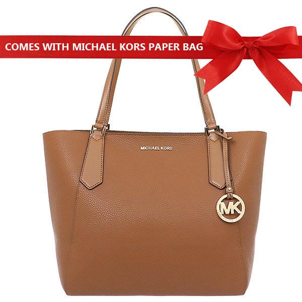 0ead00da6411 Singapore. Michael Kors Kimberly Large Bonded Leather Tote Handbag Luggage  Brown   35T8GKFT7T + Gift Receipt