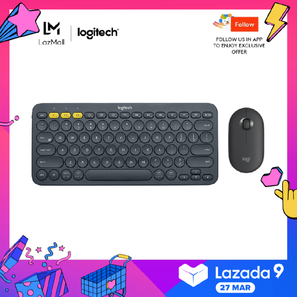 Logitech K380 Slim Multi-Device Bluetooth Keyboard + M350 Pebble Mouse Minimalist Bundle Singapore