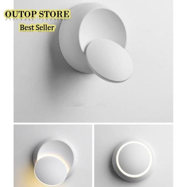 OUTOP 6W LED 360 Degree Rotation Round Shape Waterproof Wall Light Style:white shell