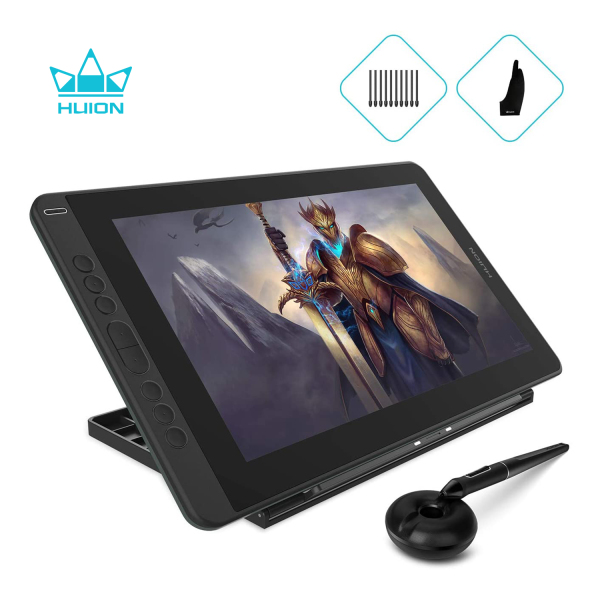 Huion KAMVAS 13 Pen Display Drawing Tablet Tilt Function Battery-Free Stylus 8192 Pen Pressure - 13.3 Inch (Green with Adjustble Stand)