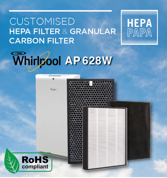 Whirlpool AP-628W Compatible Replacement HEPA & Carbon Filters [Free Alcohol Swab] [SG Seller] [7 Days Warranty] [HEPAPAPA] Singapore