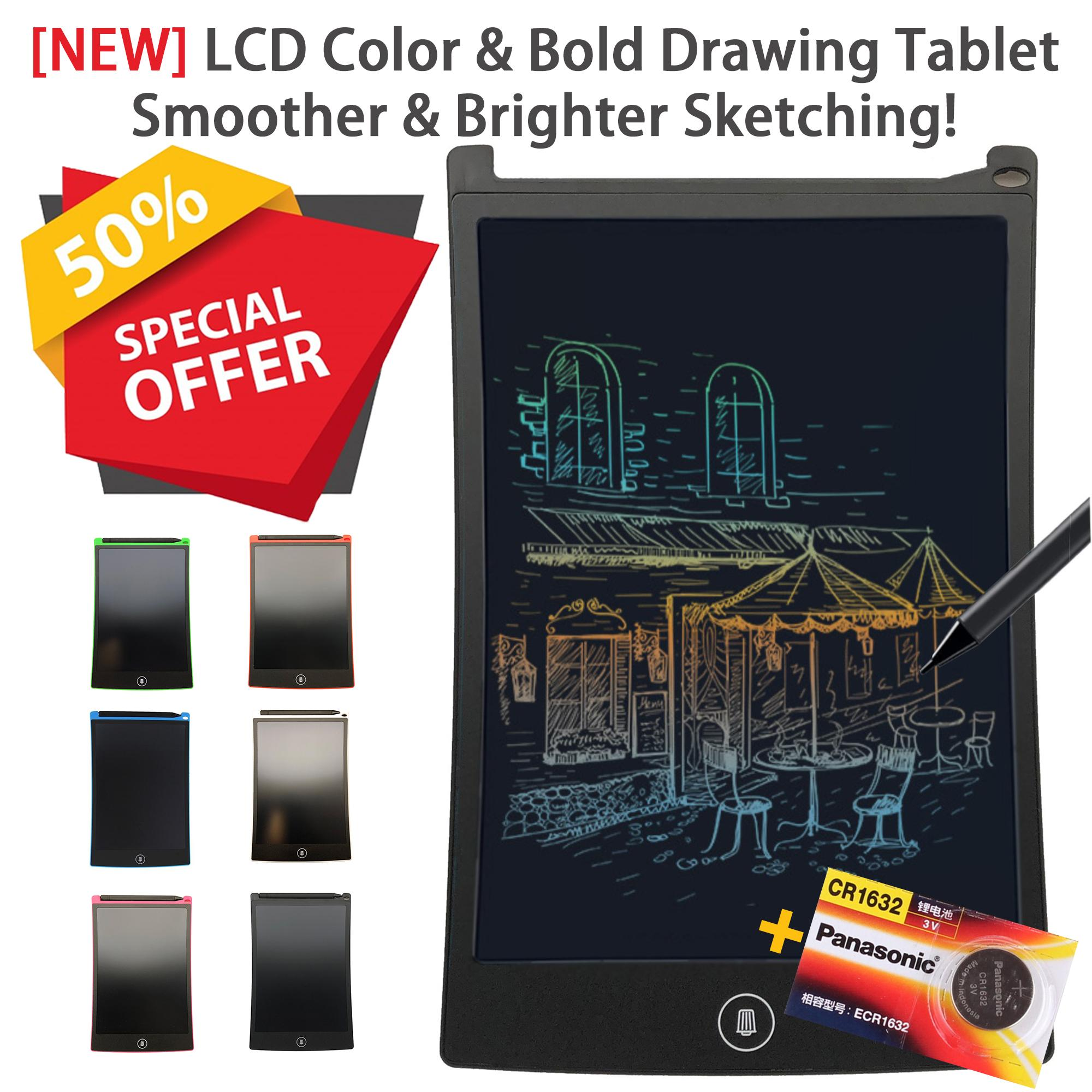 [New Model!!] 8.5 Inch COLOR and BOLD LCD Ultra Bright Drawing & Writing Memo Pad Tablet Digital Writing & Digital Drawing Graphics Board for Home Office & for Children