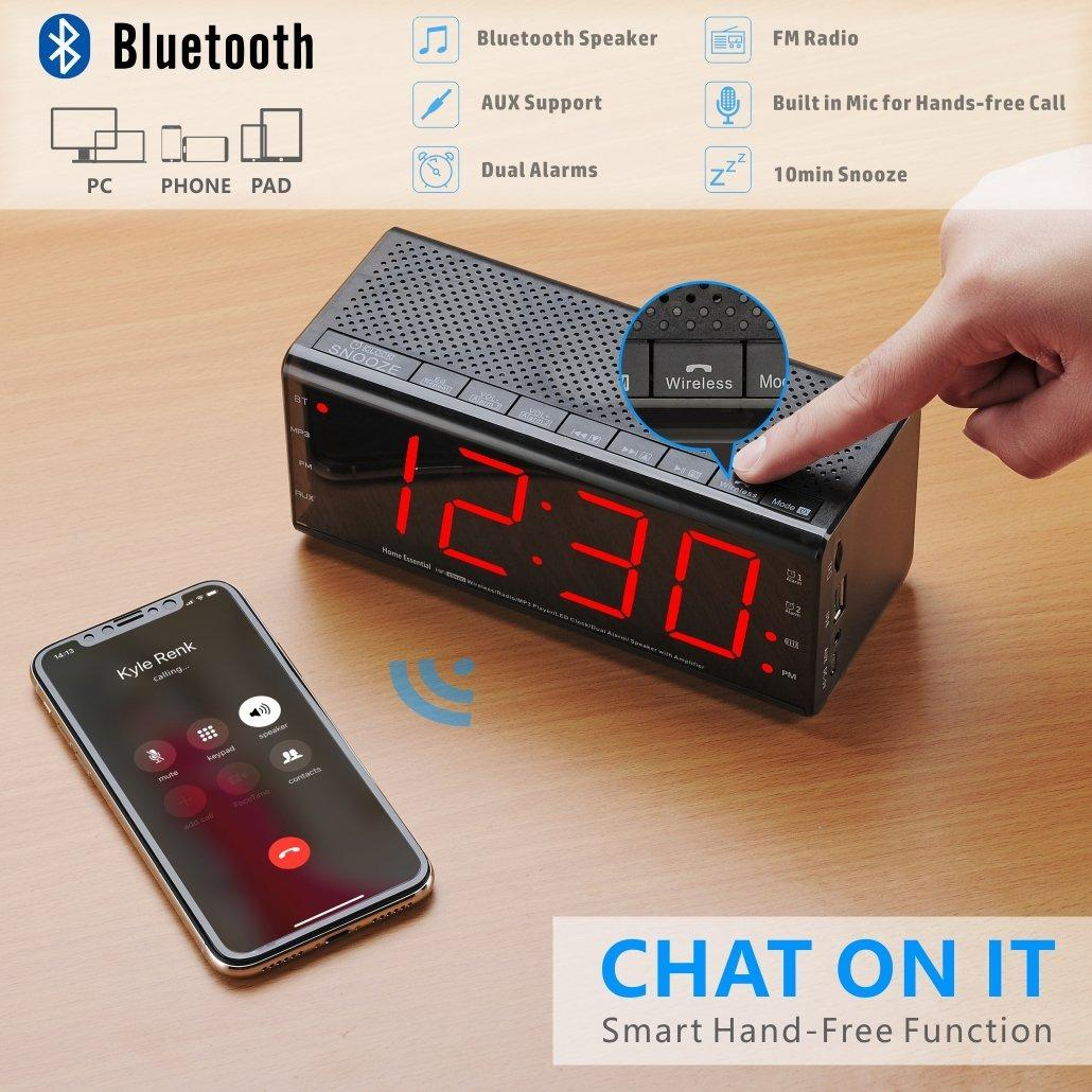 Bluetooth Speaker Alarm Clock Radio with Dual Alarm and Snooze, Larger LED Digital FM Radio with MP3 Player and USB Port for Phone Charger, DC Powered and Battery Backup by Plumeet