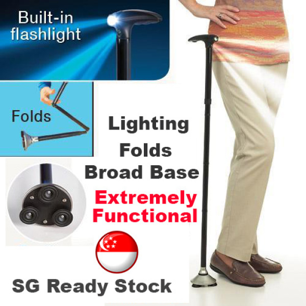 Buy Walking Stick Elderly Cane Assist With Lighting And Broad base Singapore