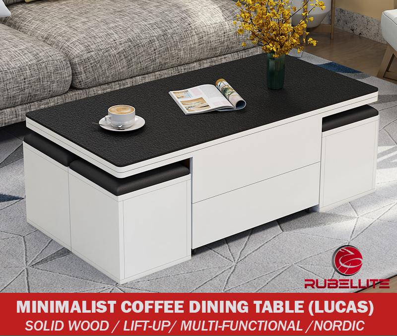 Coffee Table Dining Table [SG Seller] - Hydraulic Manual Premium Lifting Open up Table SOLID WOOD Material