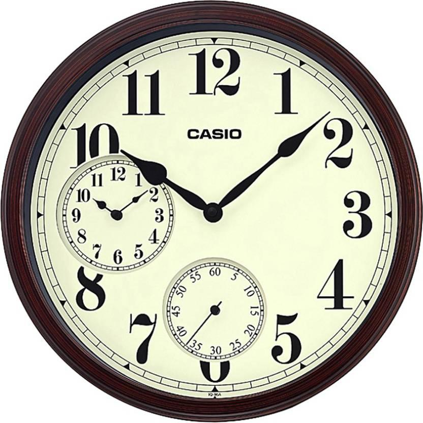 CASIO ANALOG WALL CLOCK WITH DUAL TIME IQ-96A BROWN