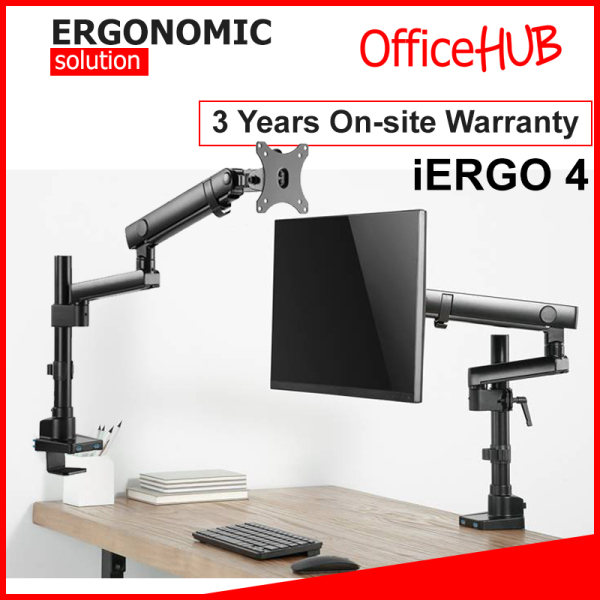 iErgo 4 Single Monitor Arm ★ Monitor Mount ★ Monitor Stand ★ Desk stand ★ Ergonomic Stand ★ Table Mount ★ USB 3.0 ★ Fits Monitor Screens up to 34 Inch ★ Max Weight 8 KG ★ VESA Mount ★ Height Adjustable ★ Clamp Grommet Mount To Desk ★