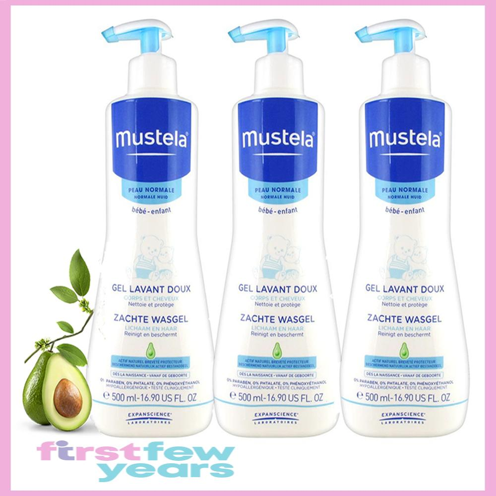 Mustela Gentle Cleansing Gel for Body & Hair, 500ml x 3 (Expiry March 2021)