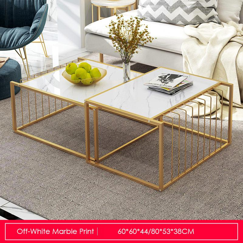 Marble Print Extendable Coffee Table Set