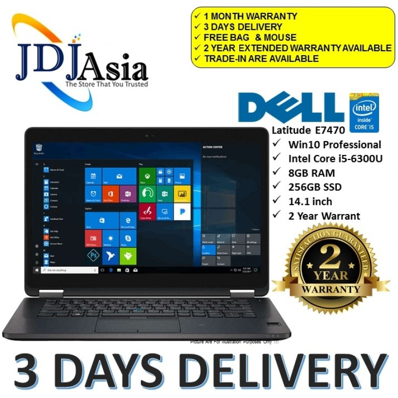 IMMEDIATE DELIVERY Dell [Refurbished] Latitude 14 E7470 Core i5 Business Laptop Notebook Core i5-6300U X2 2.4GHZ / 8GB DDr4 / 256GB SSD / Win10 Pro 64Bit [Extended Warranty Up to 24 Months]