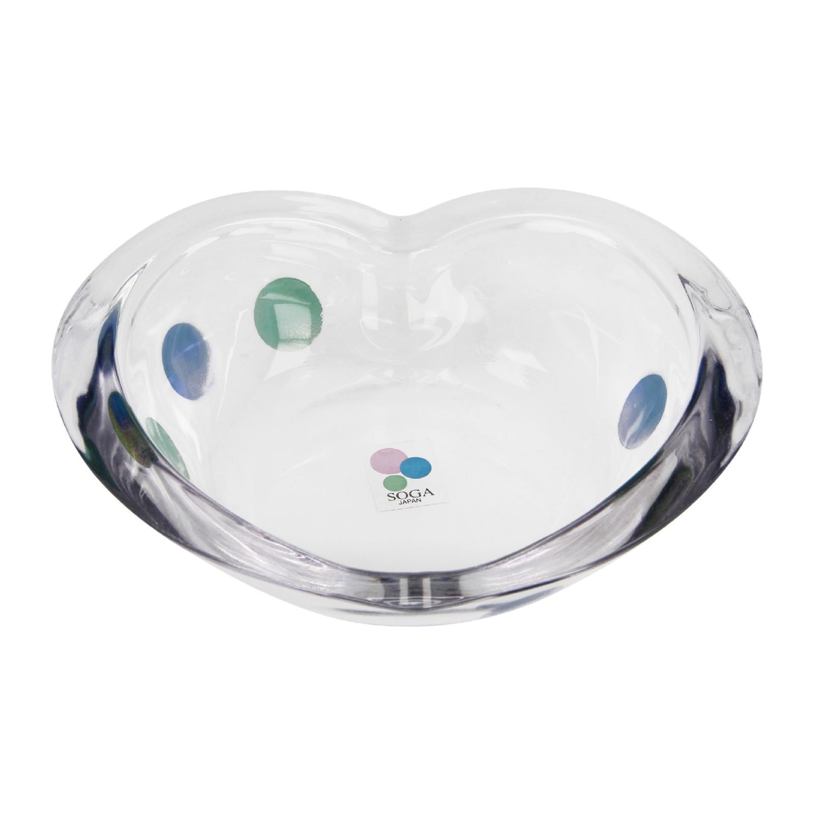 Soga Color Marble Glass Heart Bowl 5.5 (Blue)