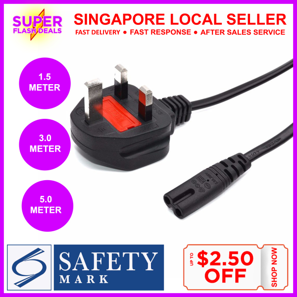 Safety Mark Singapore Plug Power Cord to to C7 Lead Power Cable (1.5 / 3.0 / 5.0 Meter) Figure 8 European Japan American Australian Power Cable UK Figure 8 AC Power Cord Radio Battery Chargers PSP 4 CD Play Laptop Charger Playstation Xbox Fan TV Adapter