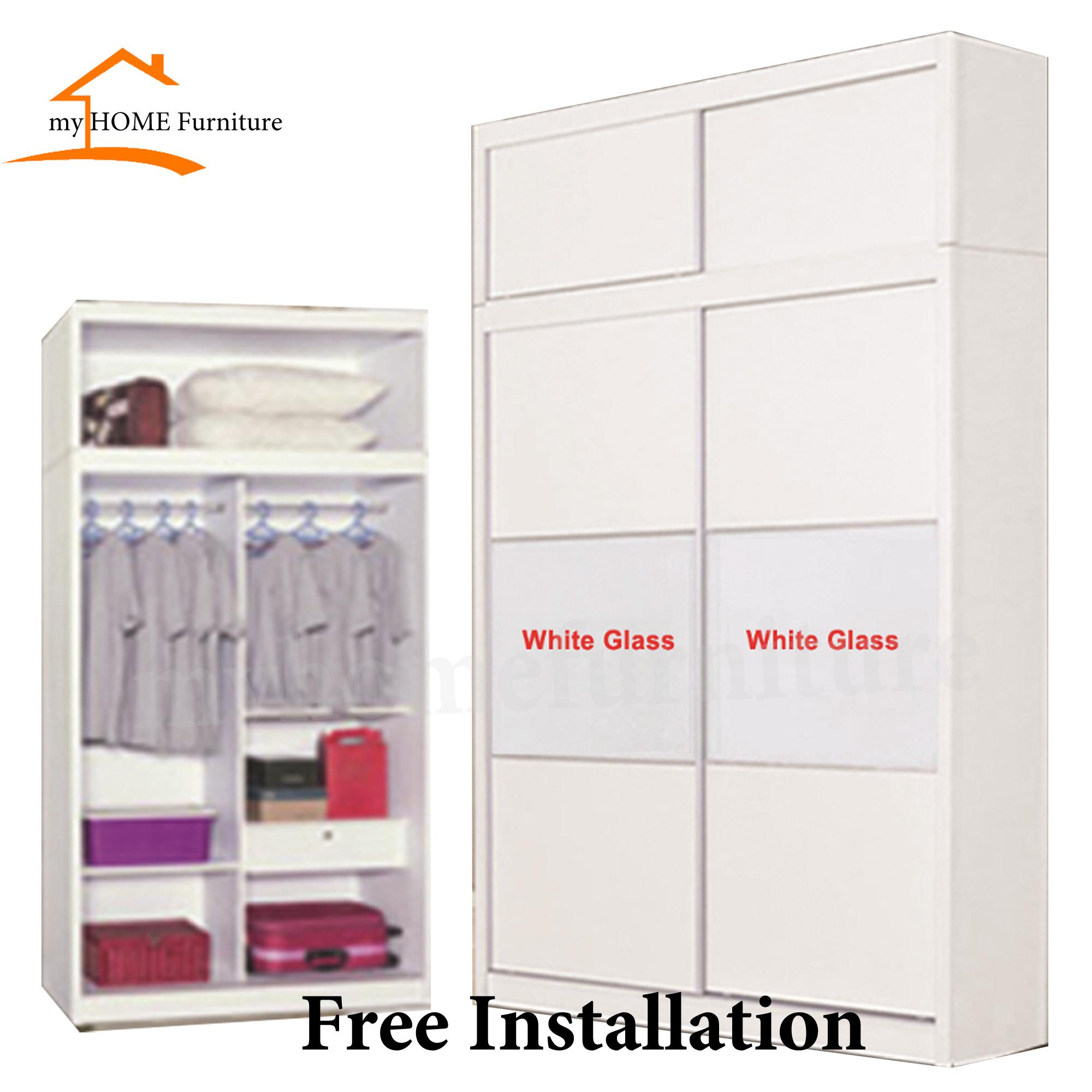 Mane 4ft Sliding Wardrobe With Top Storage (Matt White) (Free Delivery and Installation)