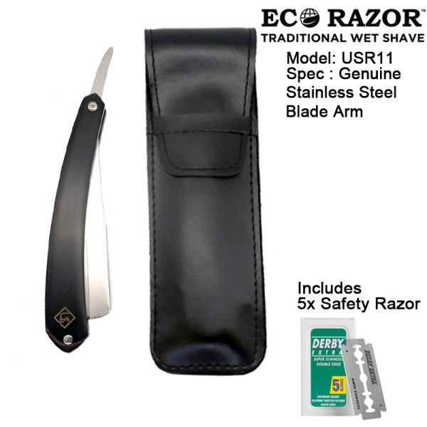 Buy Ubersuave Eco-Razor Black Wood Straight Edge Razor w/ Faux Leather Sleeve Pouch-SGPOMADES Singapore