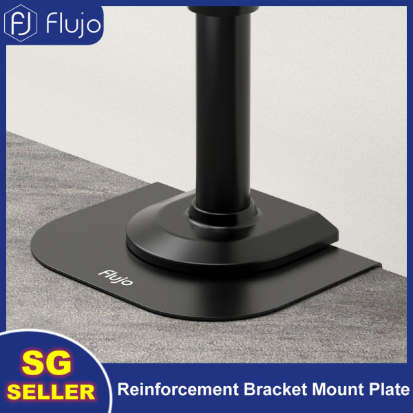 Flujo Steel Monitor Mount Reinforcement Bracket Mount Plate for Thin, Glass, and Other Fragile Table Tops, Clamp Compatible with Most Monitor Stand C-Clamp Installations-FW05