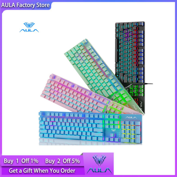 AULA factory shop S2022 mechanical gaming keyboard, macro programming high and low key layout metal panel, 26-key anti-ghosting cool luminous effect LED backlit keyboard, suitable for computer gamers Singapore