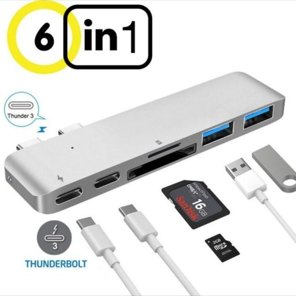 6 In 1 Ports Type C Hub MacBook Pro Type-C Card Reader Adapter with USB-C Charging