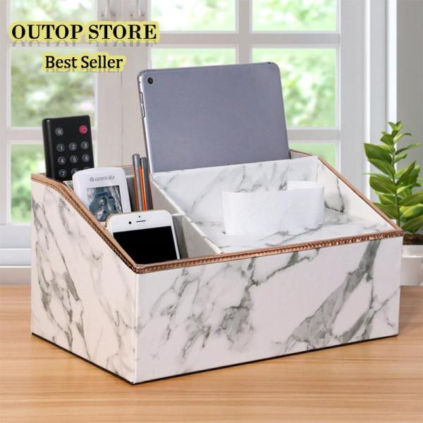 OUTOP Multi Functional Leather Tissue Box Napkin Holder Tabletop Remote Controller Phone Organize