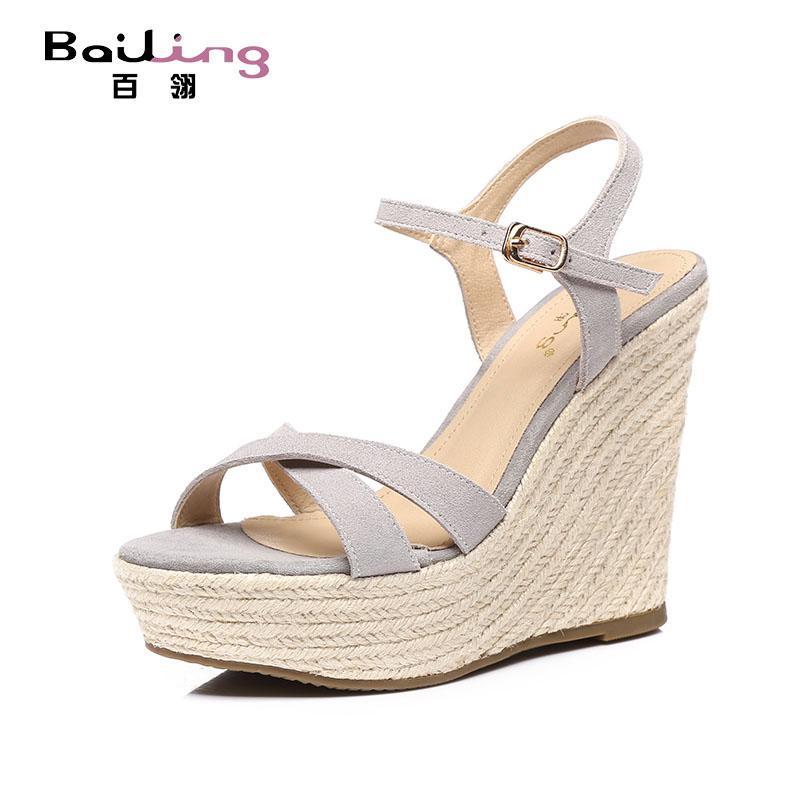 cd5cfe88ef1 Bai ling 2019 Summer New Style women Sandals Slanted Heel Waterproof  Platform Nubuck Leather Weaving Vintage