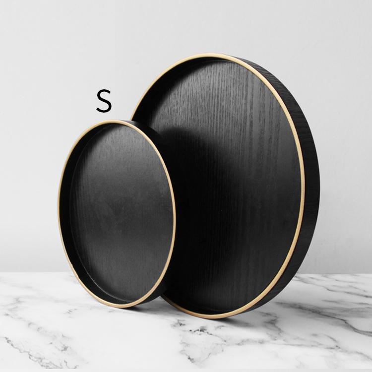 Asgrass Originality Design Northern Europe INS Gold Foil Edge Wood round Tray Hotel Teapot Candy Dish Storage Pendulum Take