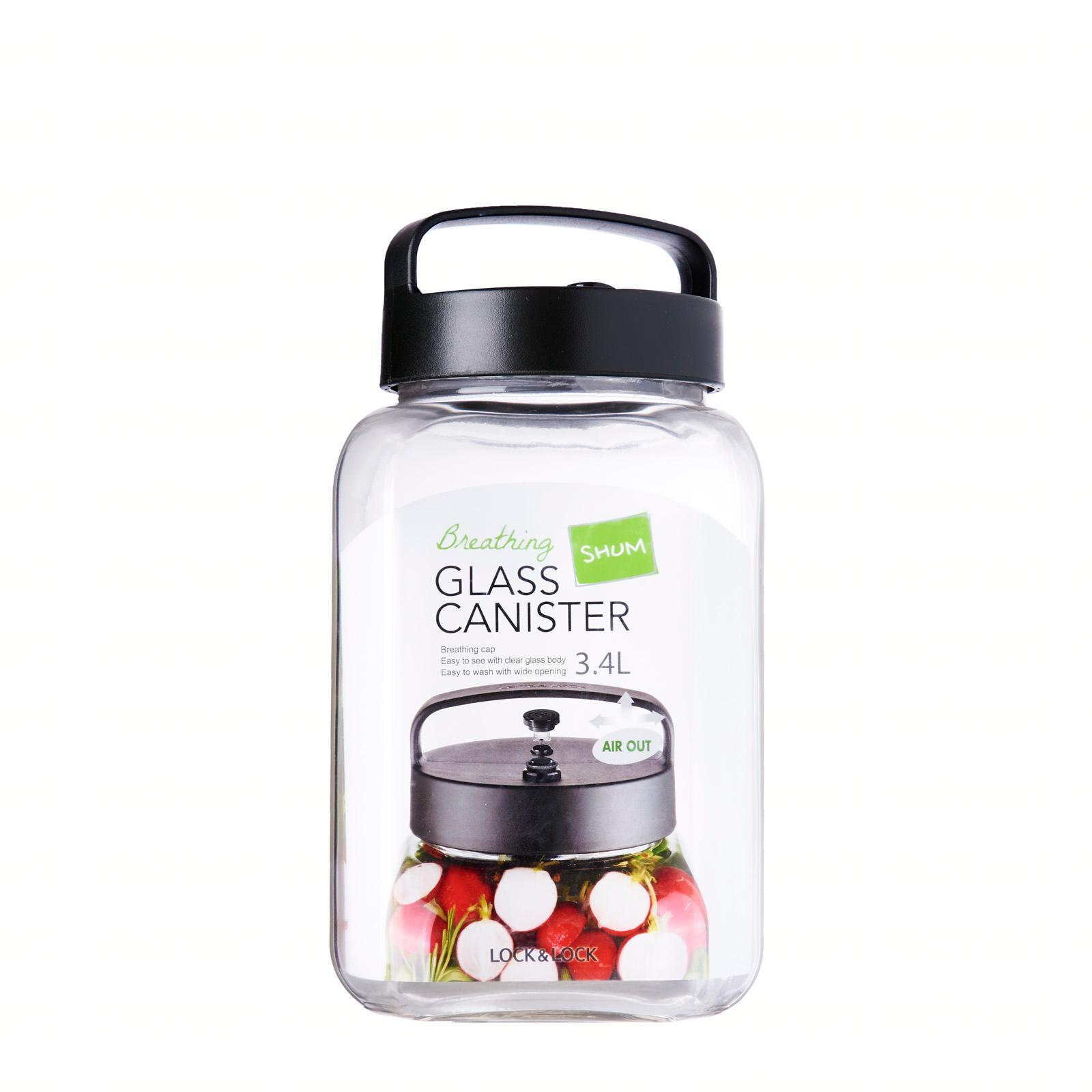 Lock and Lock Breathing Glass Canister With Handy 3.4L