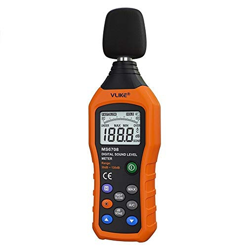 VLIKE Noise Sound Level Meter, Digital Decibel Meter with LCD, Audio Measurement 30 dB to 130 dB, DB Meter with A and C Frequency Weighting for Sound Level Testing