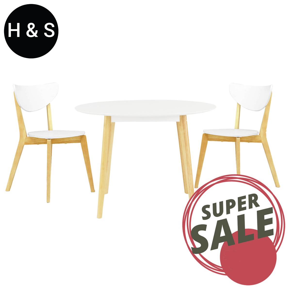 Round Dining Table + 2 Dining Chair. (1+2) Quality Dining Set