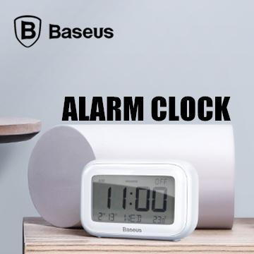 Baseus Subai LED Digital Electronic Alarm Clock Multifunctional Silent Desktop Clock - White