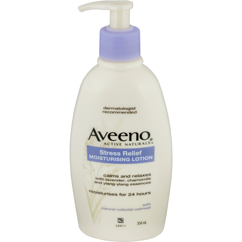 Buy Aveeno Active Naturals Stress Relief Moisturising Lotion Lavender, Chamomile and Ylang-Ylang Essences 354mL - It helps improve your well-being by calming and relaxing you, while providing long-lasting moisturisation.  -  Made in Korea Singapore