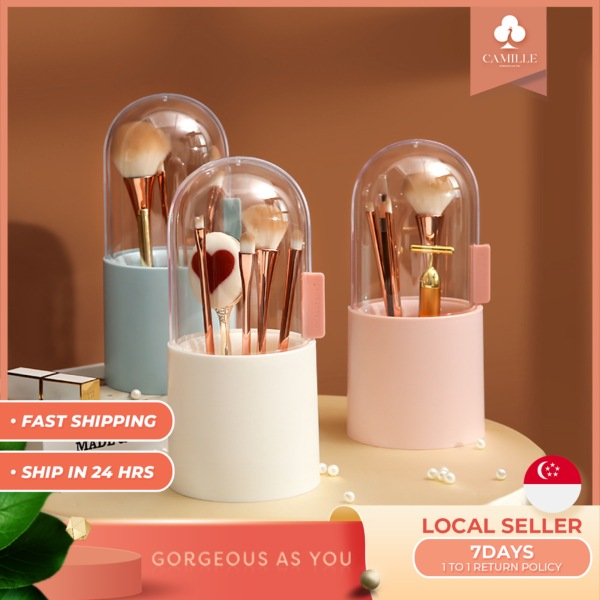 Buy CAMILLE(FREE PEARLS included) makeup brush storage box dust-proof covered transparent plastic with pearl brush storage cosmetic brushes organiser Singapore