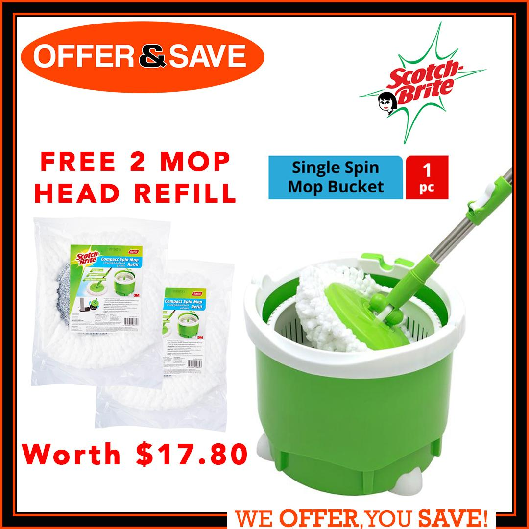 [free 2 Mop Head Refill] [promotion] 3m Scotch - Brite ® Single Spin Mop Bucket [total 3 Mop Head!] By Offer & Save.
