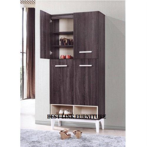 BEST LINK FURNITURE BLF Glas 4 Doors Shoe Cabinet