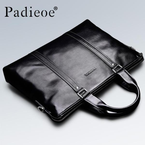 Padieoe Men Business Bag Genuine Cow Leather Briefcase Laptop Youth Bag Tote Handbags Black 15.5inch - intl