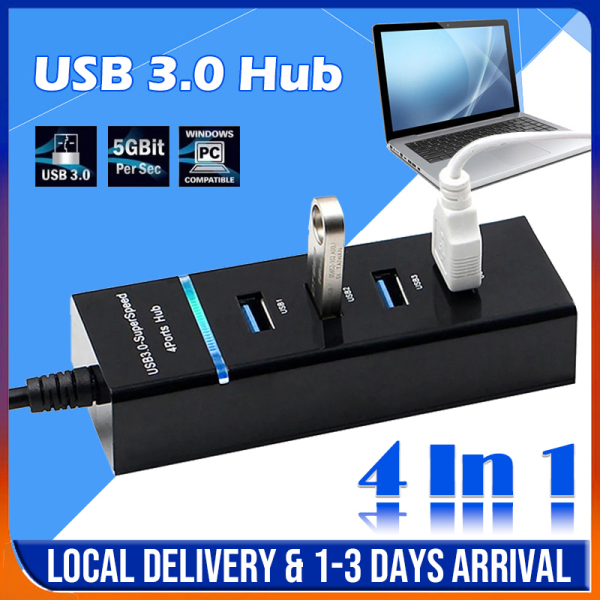 [SG Local Stock] Upgraded USB 3.0 Connector 4 Ports High Speed 5Gbps Hub / Portable Extension / Splitter for Laptop PC