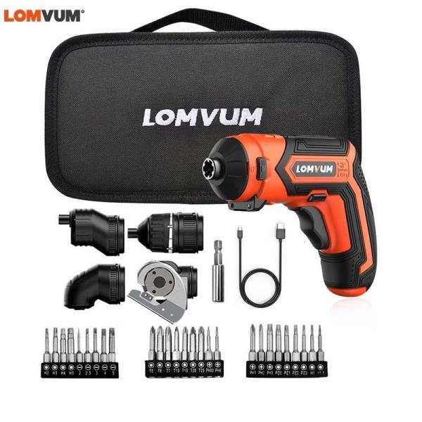 LOMVUM Cordless Electric 4V Lithium-Ion Screwdriver Multi-function Household Rechargeable Electric Drill Power Tools LED Light
