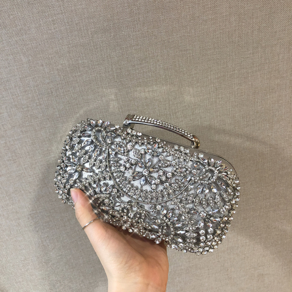 HOLILA Luxury PU Leather Hollowed-out Metal Wedding Bridal Party Bag Matching Color Crystal Clutch Diamond  Flower Evening Bag Woman Purse Shoulder Bag Cross-body Bag #180321PU Leather