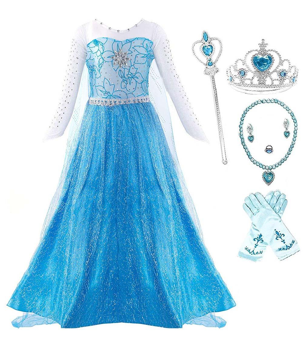 d96121dc0c9 Girl Ice Queen Glitter Princess Dress Snow Queen Costume Cosplay with Dress  up Party Accessories -