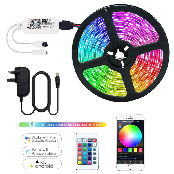 [SG Upgraded] Smart WiFi LED Strip Lights with 24 Key Remote Controller Waterproof ,RGB SMD2835 Lightning Works with Alexa, Google Home Super-Bright