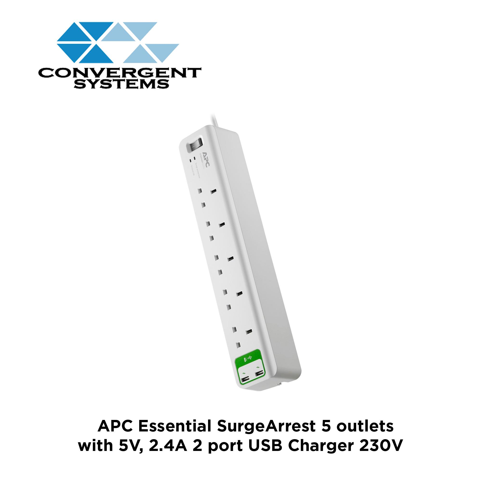 APC Essential SurgeArrest 5 outlets with 5V, 2.4A 2 port USB Charger 230V UK