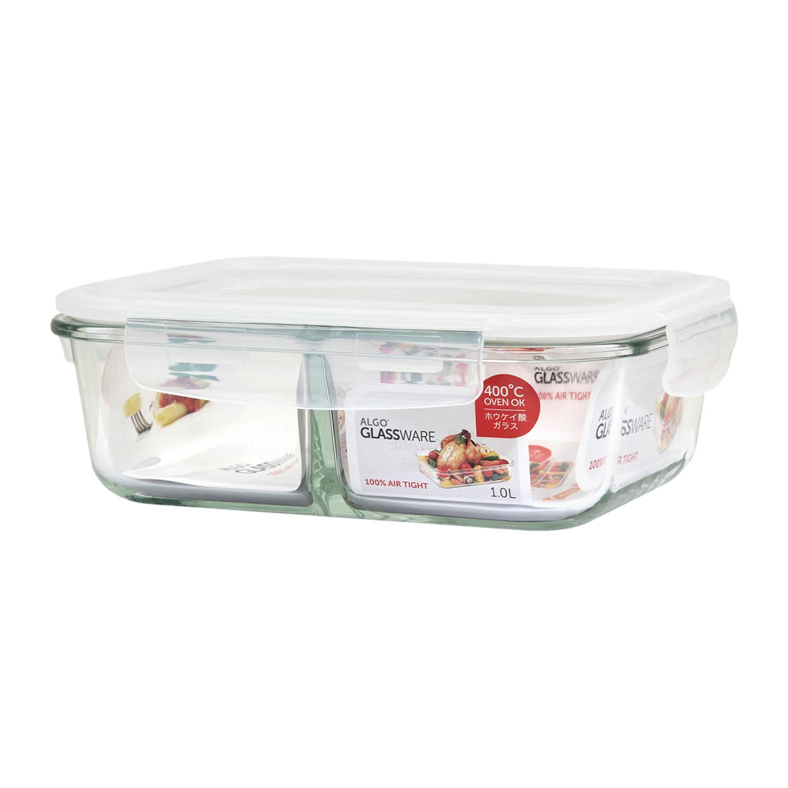 Algo Glass Container with Divider 1000ML Rectangular