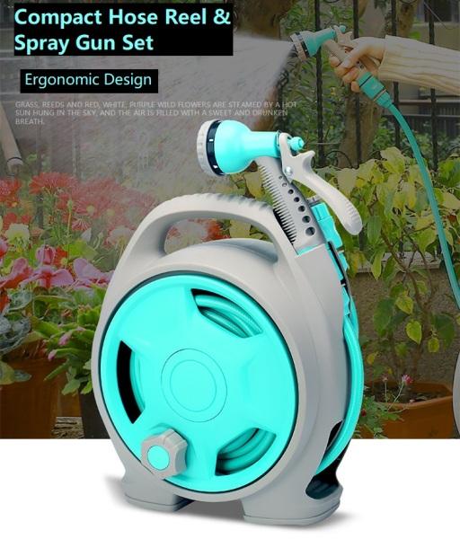 Mini Car Garden Hose Reel Set with Spray Washer 13m for Gardening/HDB MSCP Car/Bike/Van Wash
