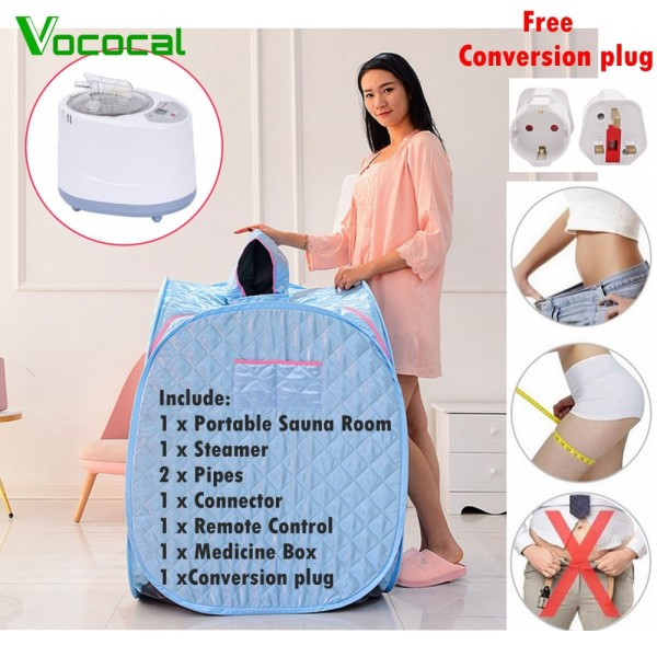 Buy 【Free Conversion Plug】1000W Portable Foldable Sauna Tent Steam Sauna Room SPA With 3L Steamer For Personal Skin Beauty Health Therapy Slimming Blue Singapore