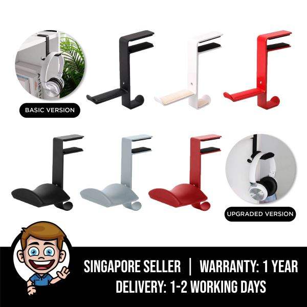 Headphone Stand Hanger Hook, Universal Aluminium Metal Headphone Stand Holder for Bag and PC Gaming Headset, Adjustable Headset Stand Clamp Mount Desk Hook Holder for All Headphone Sizes, Sennheiser, Audio-Technica, Gaming Headphones Singapore