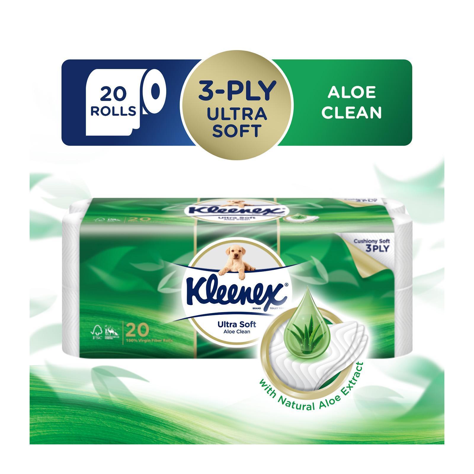 Kleenex Ultra Soft Aloe Clean 3-Ply Toilet Tissue FOC 8 Kleenex Pocket Pack