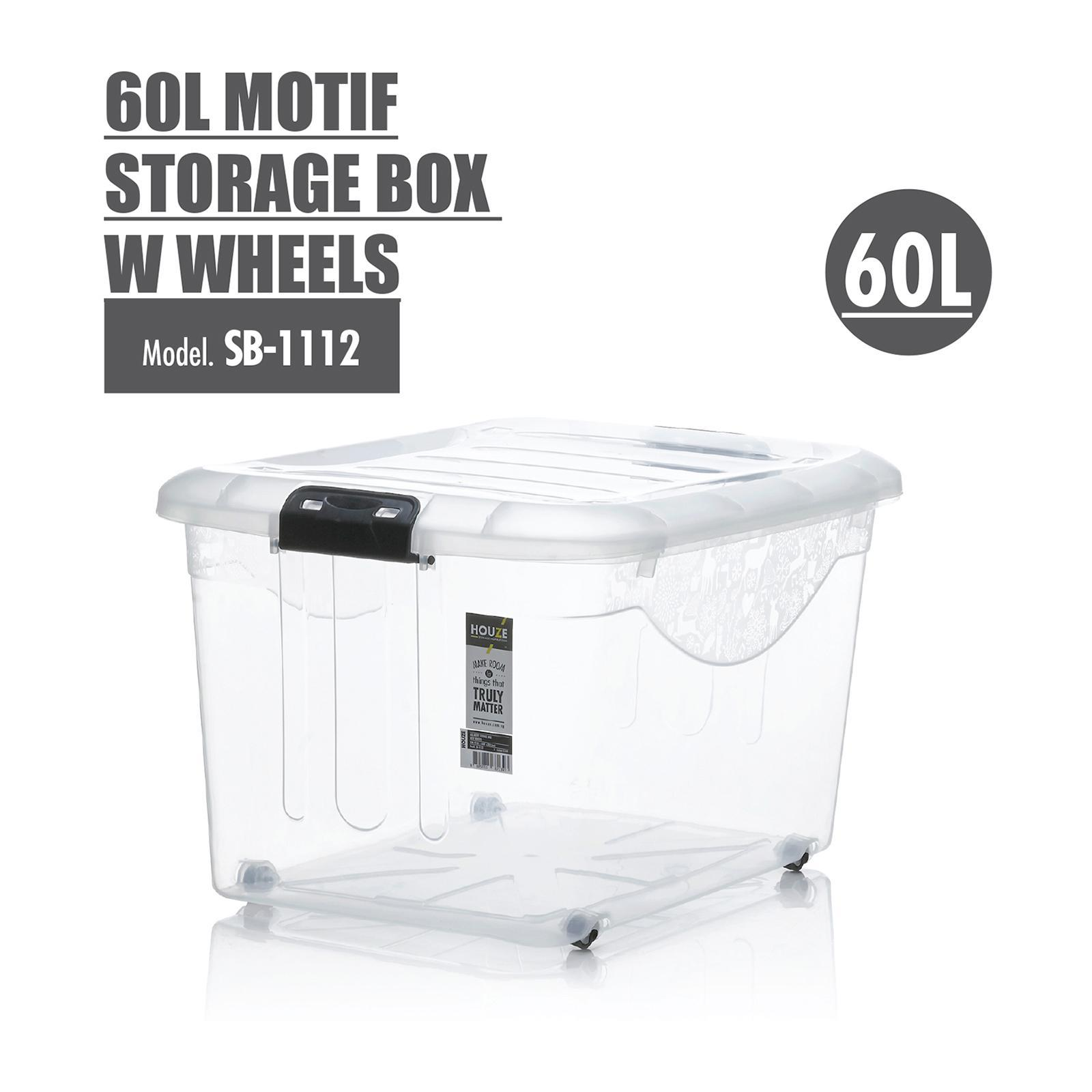 HOUZE 60L Motif Storage Box With Wheels